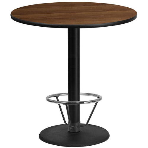 42'' Round Walnut Laminate Table Top with 24'' Round Bar Height Table Base and Foot Ring [XU-RD-42-WALTB-TR24B-4CFR-GG]