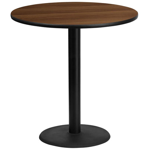 42'' Round Walnut Laminate Table Top with 24'' Round Bar Height Table Base [XU-RD-42-WALTB-TR24B-GG]