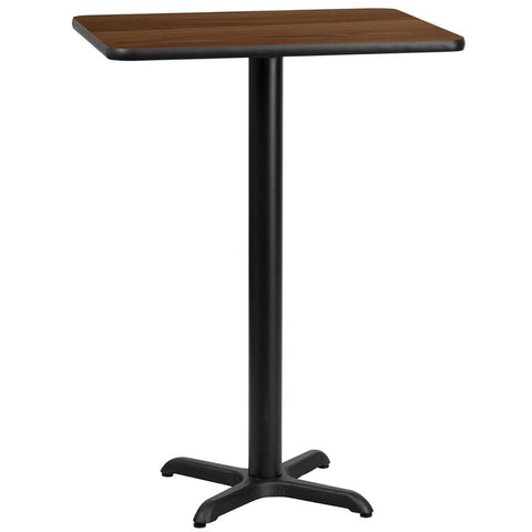 24'' x 30'' Rectangular Walnut Laminate Table Top with 22'' x 22'' Bar Height Table Base [XU-WALTB-2430-T2222B-GG]
