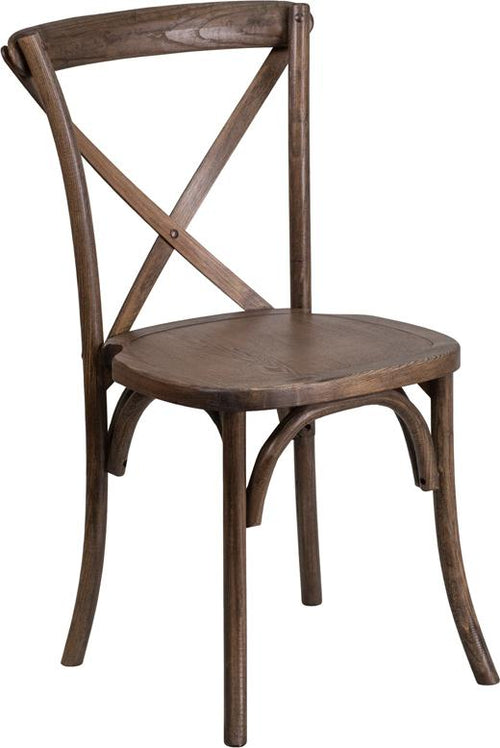 HERCULES Series Stackable Early American Wood Cross Back Chair [XU-X-EA-GG]