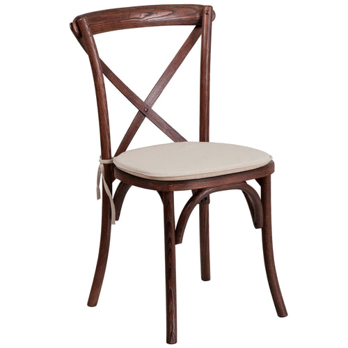 HERCULES Series Stackable Mahogany Wood Cross Back Chair with Cushion [XU-X-MAH-NTC-GG]