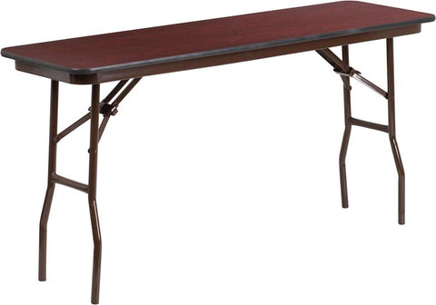 18'' x 60'' Rectangular High Pressure Mahogany Laminate Folding Training Table [YT-1860-HIGH-WAL-GG]