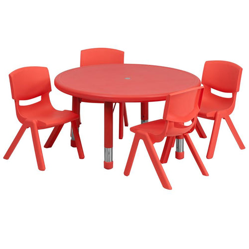 33'' Round Red Plastic Height Adjustable Activity Table Set with 4 Chairs [YU-YCX-0073-2-ROUND-TBL-RED-E-GG]