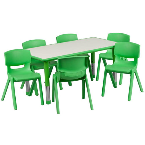 23.625''W x 47.25''L Rectangular Green Plastic Height Adjustable Activity Table Set with 6 Chairs [YU-YCY-060-0036-RECT-TBL-GREEN-GG]
