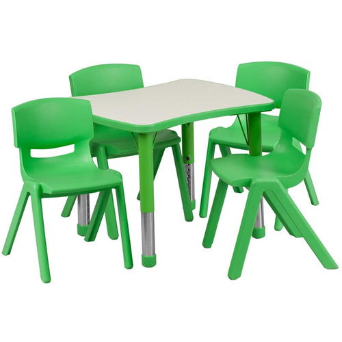 21.875''W x 26.625''L Rectangular Green Plastic Height Adjustable Activity Table Set with 4 Chairs [YU-YCY-098-0034-RECT-TBL-GREEN-GG]