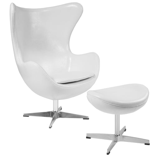 Melrose White Leather Egg Chair with Tilt-Lock Mechanism and Ottoman [ZB-10-CH-OT-GG]