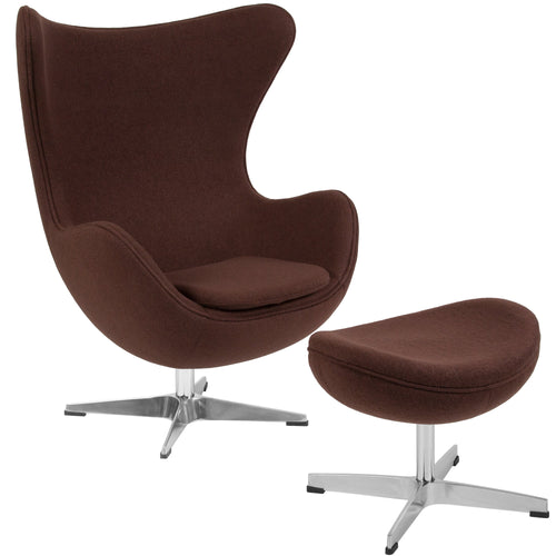 Brown Wool Fabric Egg Chair with Tilt-Lock Mechanism and Ottoman [ZB-13-CH-OT-GG]