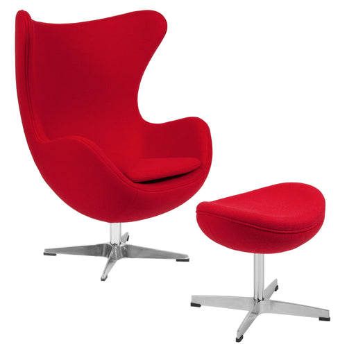 Red Wool Fabric Egg Chair with Tilt-Lock Mechanism and Ottoman [ZB-14-CH-OT-GG]