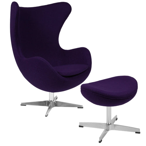 Purple Wool Fabric Egg Chair with Tilt-Lock Mechanism and Ottoman [ZB-16-CH-OT-GG]