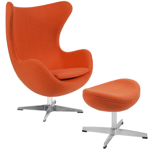 Orange Wool Fabric Egg Chair with Tilt-Lock Mechanism and Ottoman [ZB-17-CH-OT-GG]