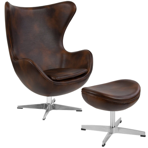 Bomber Jacket Leather Egg Chair with Tilt-Lock Mechanism and Ottoman [ZB-21-CH-OT-GG]