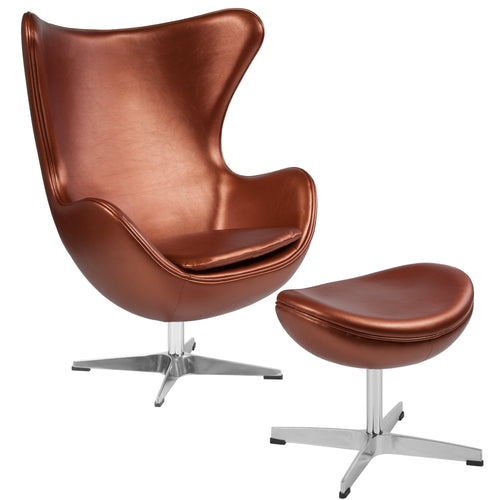 Copper Leather Egg Chair with Tilt-Lock Mechanism and Ottoman [ZB-22-CH-OT-GG]
