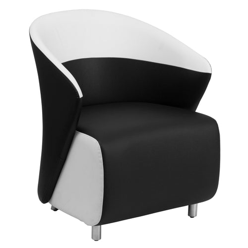 Black Leather Lounge Chair with Melrose White Detailing [ZB-7-GG]