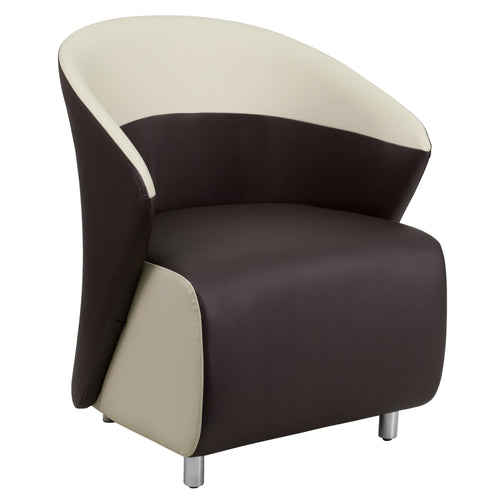 Dark Brown Leather Lounge Chair with Beige Detailing [ZB-8-GG]