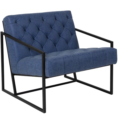 HERCULES Madison Series Retro Blue Leather Tufted Lounge Chair [ZB-8522-BL-GG]