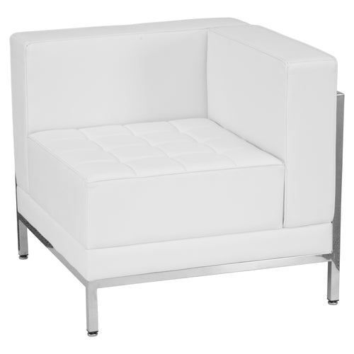 HERCULES Imagination Series Contemporary Melrose White Leather Right Corner Chair with Encasing Frame [ZB-IMAG-RIGHT-CORNER-WH-GG]
