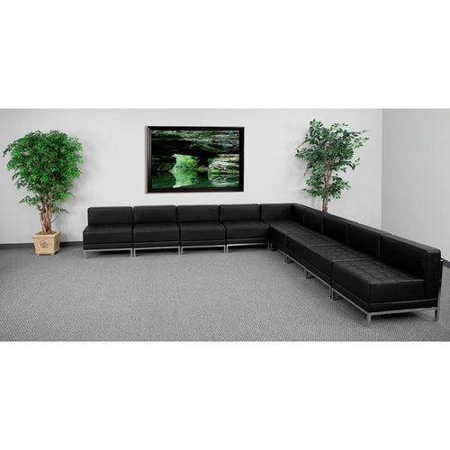 HERCULES Imagination Series Black Leather Sectional Configuration, 9 Pieces [ZB-IMAG-SECT-SET7-GG]