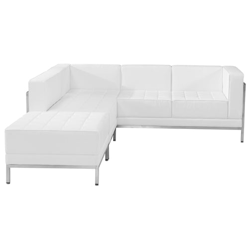 HERCULES Imagination Series Melrose White Leather Sectional Configuration, 3 Pieces [ZB-IMAG-SECT-SET9-WH-GG]