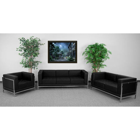 HERCULES Imagination Series Black Leather Loveseat, Chair & Ottoman Set [ZB-IMAG-SET11-GG]