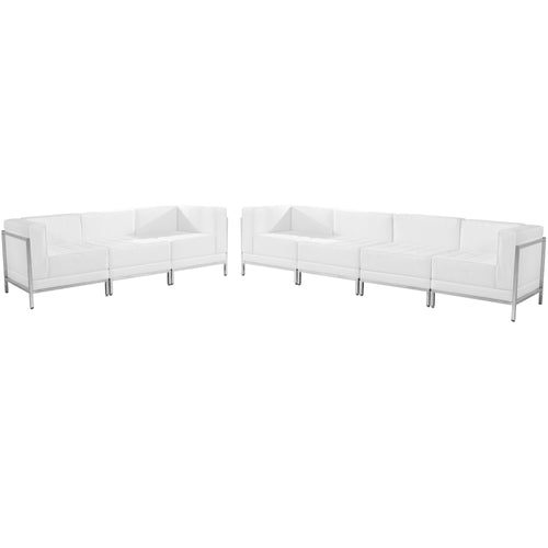 HERCULES Imagination Series Melrose White Leather Sofa Set, 5 Pieces [ZB-IMAG-SET17-WH-GG]
