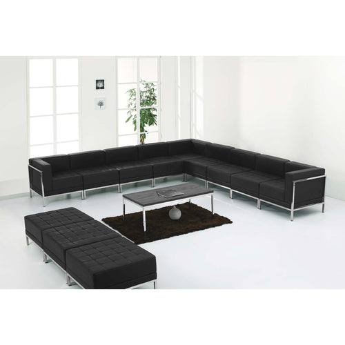 HERCULES Imagination Series Black Leather Sectional & Ottoman Set, 12 Pieces [ZB-IMAG-SET18-GG]