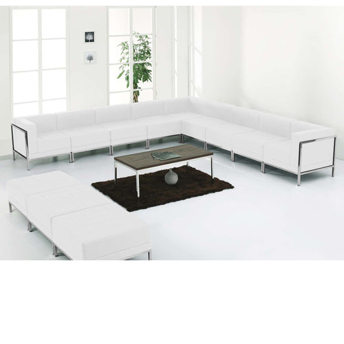 HERCULES Imagination Series Melrose White Leather Sectional & Ottoman Set, 12 Pieces [ZB-IMAG-SET18-WH-GG]