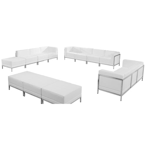 HERCULES Imagination Series Melrose White Leather Sofa, Lounge & Ottoman Set, 12 Pieces [ZB-IMAG-SET21-WH-GG]