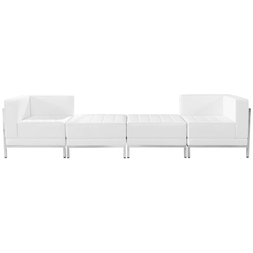 HERCULES Imagination Series Melrose White Leather 4 Piece Chair & Ottoman Set [ZB-IMAG-SET7-WH-GG]