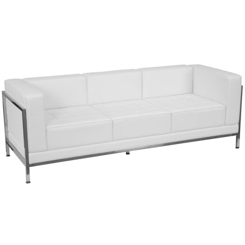 HERCULES Imagination Series Contemporary Melrose White Leather Sofa with Encasing Frame [ZB-IMAG-SOFA-WH-GG]