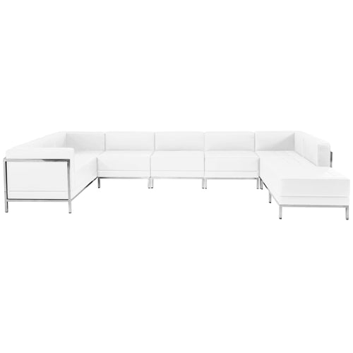 HERCULES Imagination Series Melrose White Leather U-Shape Sectional Configuration, 7 Pieces [ZB-IMAG-U-SECT-SET4-WH-GG]