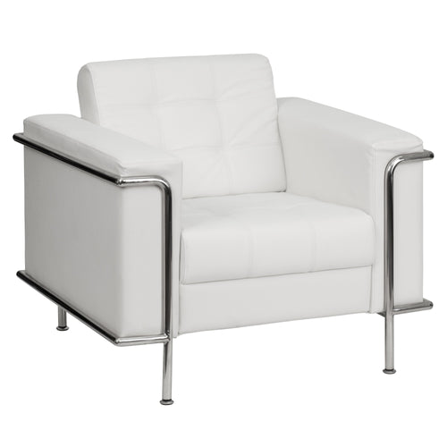 HERCULES Lesley Series Contemporary Melrose White Leather Chair with Encasing Frame [ZB-LESLEY-8090-CHAIR-WH-GG]