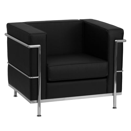 HERCULES Regal Series Contemporary Black Leather Chair with Encasing Frame [ZB-REGAL-810-1-CHAIR-BK-GG]