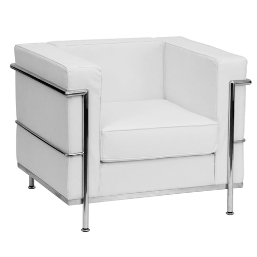 HERCULES Regal Series Contemporary Melrose White Leather Chair with Encasing Frame [ZB-REGAL-810-1-CHAIR-WH-GG]