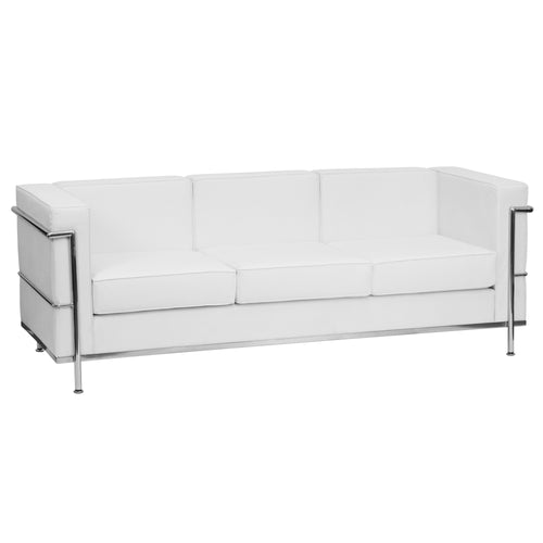 HERCULES Regal Series Contemporary Melrose White Leather Sofa with Encasing Frame [ZB-REGAL-810-3-SOFA-WH-GG]