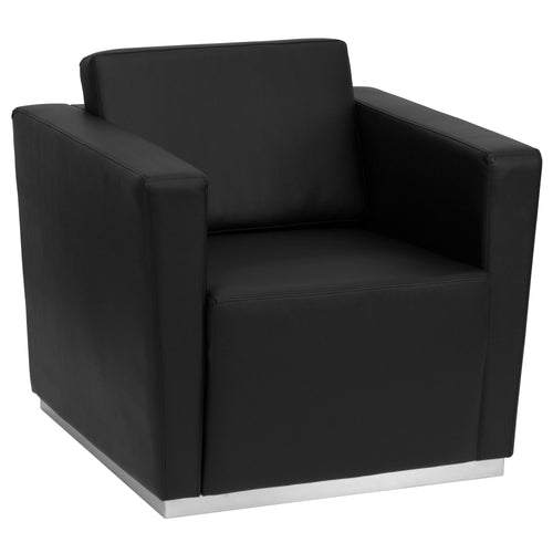 HERCULES Trinity Series Contemporary Black Leather Chair with Stainless Steel Base [ZB-TRINITY-8094-CHAIR-BK-GG]