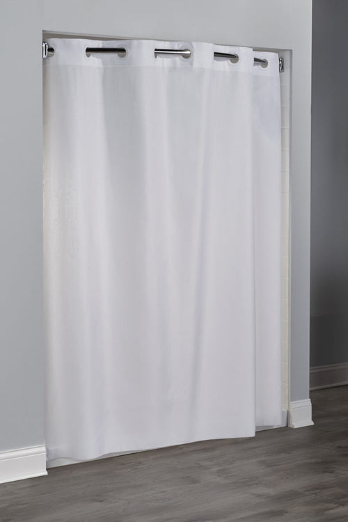 Hookless EMBOSSED MOIRE -WHITE 71 X 74 Fabric Shower Curtain - 12 Per Case