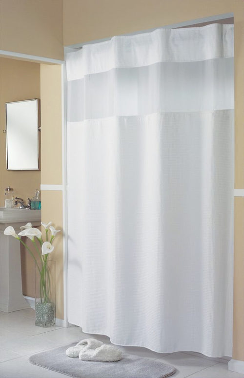 Hookless MINI WAFFLE White Fabric Shower Curtain - Case of 12