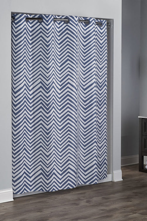 Hookless WALKER - CHEVRON BLUE Fabric Shower Curtain NEW! - Case of 12