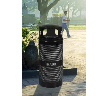 Landscape Series 34 Gallon Perforated Trash Receptacle with Dome Top