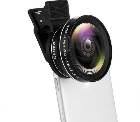 Cell Phone Camera Lens (2 in 1) - 0.45X Super Wide Angle Lens + 12.5X Macro Lens (Attached Together) - Pro Tech Gadget Store