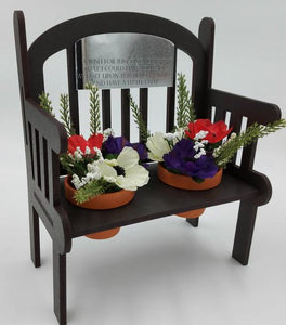 Any text Outdoor Bench keepsake with pots