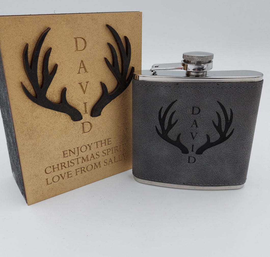 Personalised hip flask complete with gift box