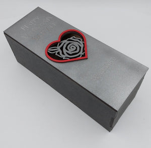 Silver, black and red rose bottle gift box fit 70cl size - BOX ONLY