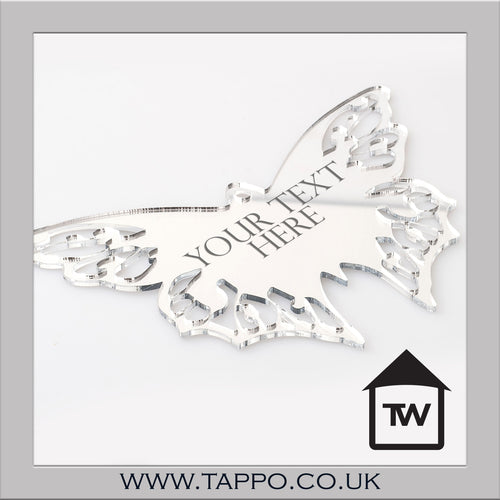 YOUR TEXT Outdoor mirror butterfly 2 sizes