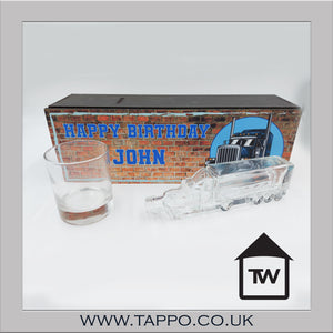 Wooden Brick print box gift set Truck bottle and glass gift set ANY OCCASION