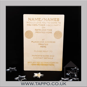 Personalised Party Disco Invitations x 5