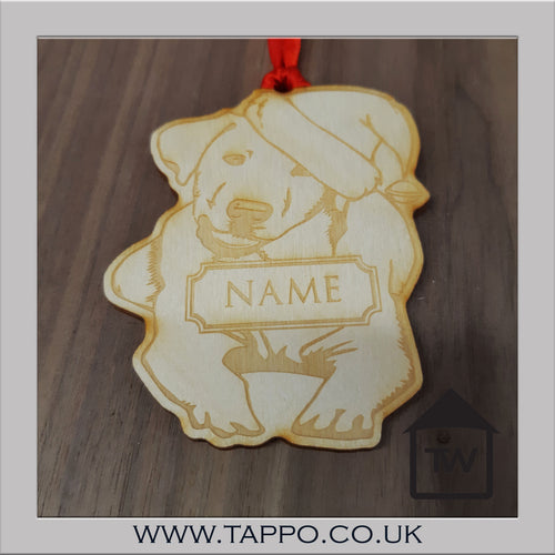 WOOD Personalised Christmas tree hanging Decorations - DOG