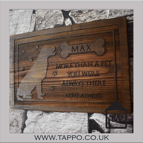 Dog remembrance wooden plaque