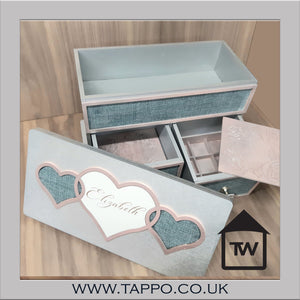 LARGE Gorgeous Personalised Jewellery Box Silver and Pink