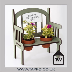 MOTHERS DAY Outdoor Bench keepsake with pots